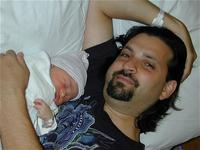 Newborn Kira and dad